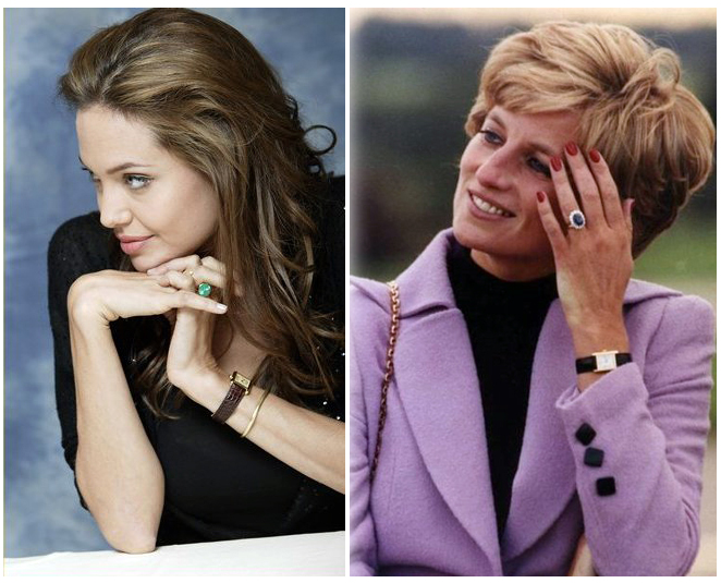 Image - Angelina Jolie and Princess Diana, wearing Cartier Tank watches