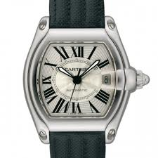 Cartier Roadster Steel Large Men's Watch with Black Strap W62025V3