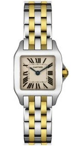 Front view of the Cartier Women's Santos Demoiselle Steel and Gold Watch W25066Z6