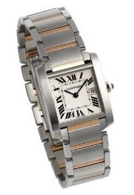 Front view of the Cartier Midsize Tank Francaise Steel and Gold Watch W51012Q4