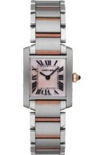 Front view of the Cartier Women's Tank Francaise Rose Gold and Steel Watch W51027Q4