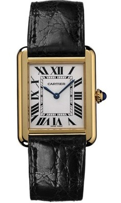 Front view of the Cartier Women's Tank Solo Small Gold/Leather Watch W5200002