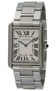 front view of the Cartier Men's Tank Solo Large Steel Watch W5200014