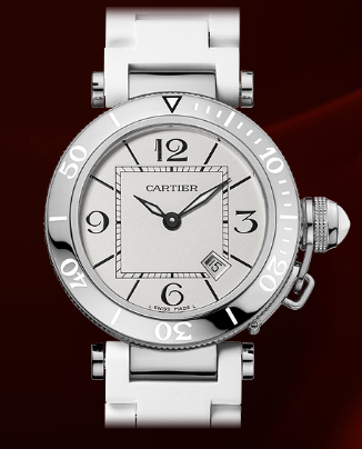 An up-close look at the women's Cartier Pasha Seatimer Steel W3140002