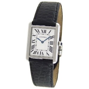 Cartier Tank Solo Mens Watch W1018355; black leather straps, rectangle stainless steel case silver