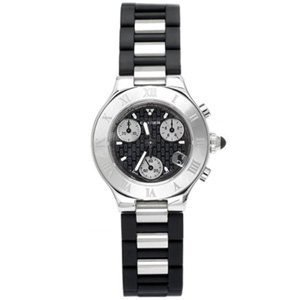 Cartier Must 21 Black Rubber Watch W10198U2; black rubber and stainless steel link bracelet, stainless steel case, black dial