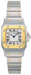 Image of the face of the Cartier Santos Galbée W20012C4