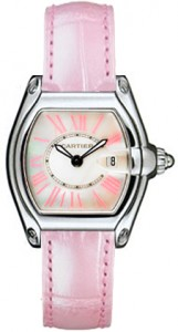 Cartier Roadster Ladies Watch with pink leather strap