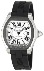 Roadster S Steel Mens Large Watch W6206018; black rubber straps, roman numerals, white dial