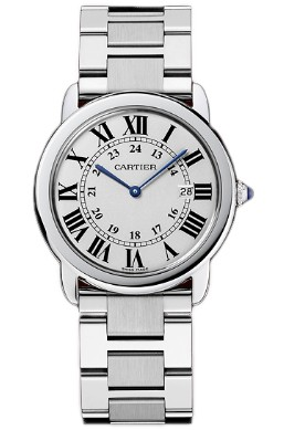 Cartier Ronde Solo Mens Watch W6701005; stainless steel, crystal, linked bracelet, roman numerals