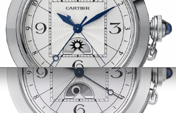Dial details of the Cartier Pasha W3109255's day/night feature