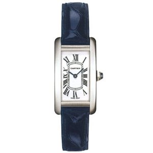 Front of Cartier Tank Americaine 18kt White Gold Ladies Watch W2601956
