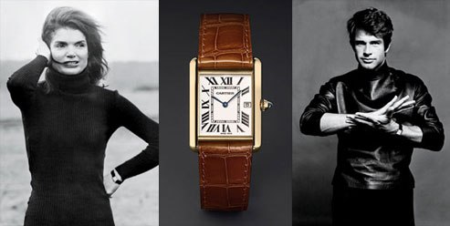 Photo of Jackie O and Warren Beatty beside a Cartier Tank Americane watch